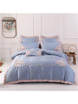 Long Staple Floral Vintage Cotton Duvet Cover Set Embroidery Four-Piece Set Long Staple Cotton Bedding Sets