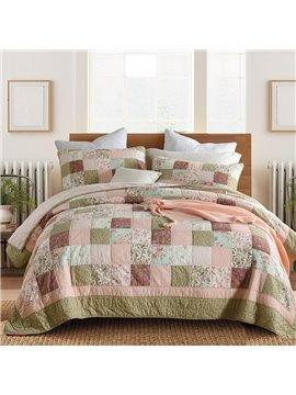 Floral Plaid Duvet Cover Set Comforter Set Reactive Printing Three-Piece Set 100% Cotton Bedding Sets Colorful Modern Style