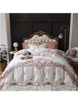 Embroidery European Duvet Cover Set Floral Four-Piece Set Cotton Bedding Sets