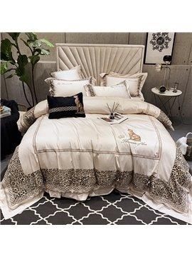 Leopard Four-Piece Set Duvet Cover Set Reactive Printing American Cotton Bedding Sets Flat Sheet