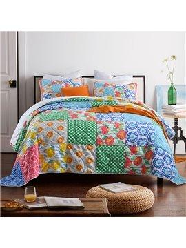 Floral Plaid Duvet Cover Set Comforter Set Reactive Printing Three-Piece Set 100% Cotton Bedding Sets