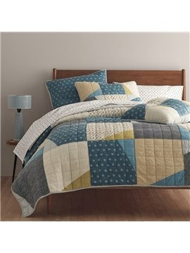 The Company Store Conditioner Quilt Summer Cool Quilt Modern Plaid Reactive Printing Comforter Set Three-Piece Set 100% Cotton Bedding Sets