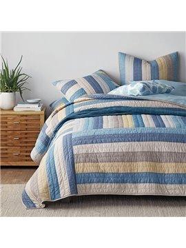 Color Stripe Comforter Set Three-Piece Set Reactive Printing100% cotton Bedding Sets Reversible All Season Quilt Set 2 Pillowcases 1 Comforter