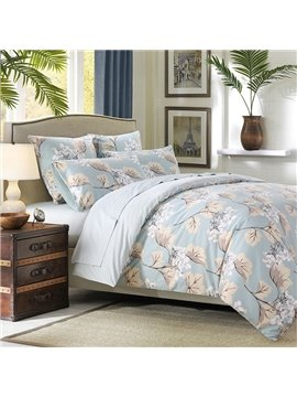 Floral Duvet Cover Set Reactive Printing Four-Piece Set Endurable Skin-friendly Polyester Bedding Sets