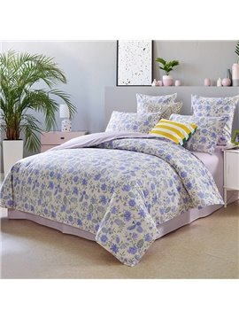 Pastoral Duvet Cover Set Reactive Printing Four-Piece Fitted Sheet Set Polyester Bedding Sets