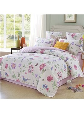 Animal Plant Duvet Cover Set Reactive Printing Four-Piece Set Polyester Bedding Sets Fitted Sheet