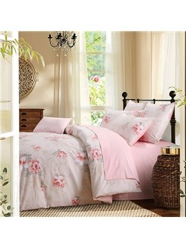 Fresh Pink Flower Four-Piece Set Polyester Bedding Sets Colorfast Skin-friendly Duvet Cover Fitted Sheet 2 Pillowcases
