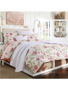 Floral Fitted Sheet 2 Pillowcases Reactive Printing Duvet Cover Set Four-Piece Set Polyester Bedding Sets
