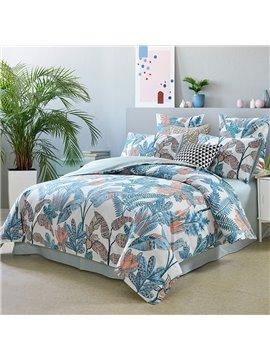 Polyester Spring Leaves Four-Piece Set Reactive Printing Duvet Cover Set Polyester Bedding Sets