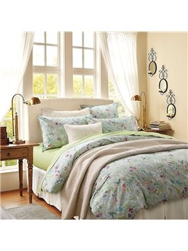 Watercolor Flower House Petals Paint with Moth Butterflies Reactive Printing Duvet Cover Set Three-Piece Set Polyester Bedding Sets