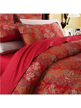 Classic Red Rose Printing Duvet Cover Set Three-Piece Set Reactive Printing Polyester Bedding Sets
