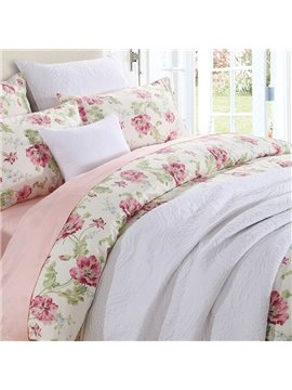 Vintage Style Watercolor Flowers Floral Pattern 3-Piece Polyester Bedding Sets Duvet Cover with Ties Colorfast Wear-resistant
