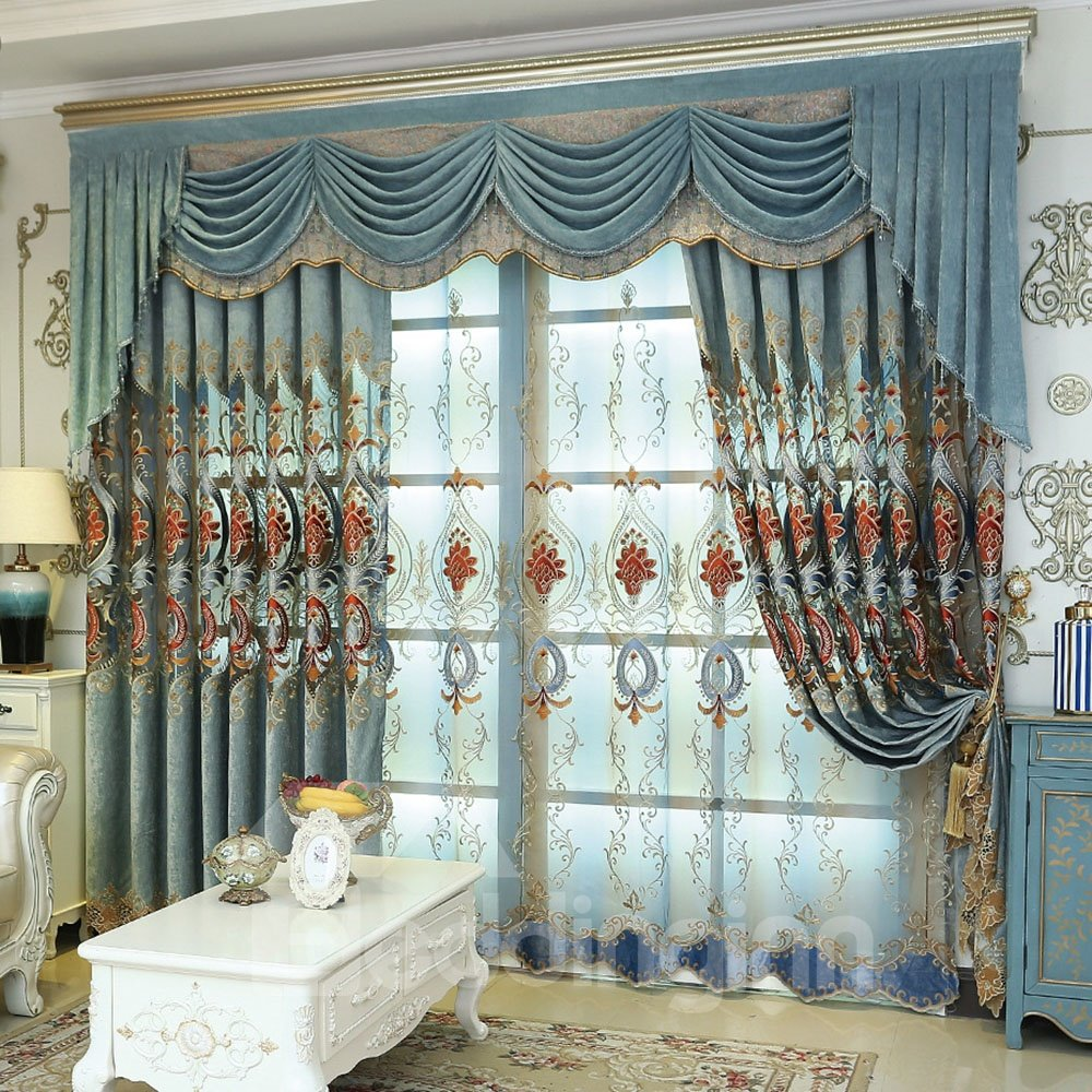 Luxury Embroidery Hollowed-out Blackout Curtains For Living Room Custom 2 Panels Chenille Drapes No Pilling No Fading No Off-lining