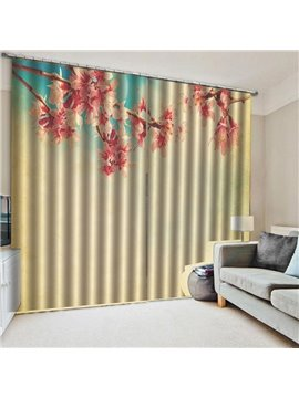 Modern Floral Printed Decoration Blackout Window Curtains for Living Room Custom 2 Panels Drapes No Pilling No Fading No off-lining