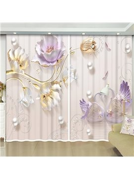 3D Elegant Relief Flowers Decorative Blackout Window Curtains for Living Room Custom 2 Panels Drapes No Pilling No Fading No off-lining
