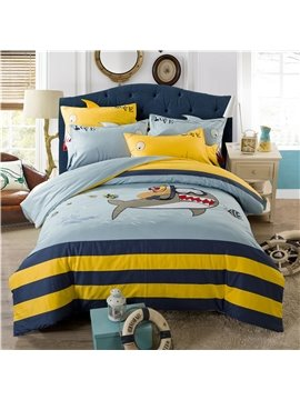 Diving Sharks and Whales Biue Yellow Color Cartoon Vehicles Cotton Duvet Cover Set for Boys Kids 4-Pieces Two Sizes Colorfast Endurable