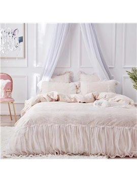 Romantic Embroidery Princess Style 4-Piece Duvet Cover Set Lace Long Staple Cotton Bedding Sets Endurable Four Colors Four Sizes for You