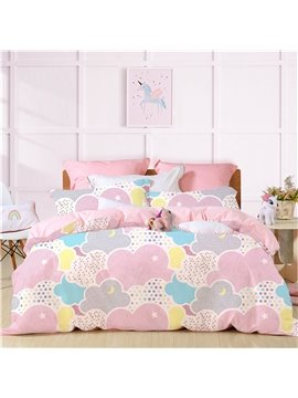 Colorful Clouds Print Princess Style Pink  Duvet Covers Bedding Sets Four-Piece Set Polyester Bedding Sets Endurable