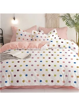 Colorful Dots and Pink Inside Machine Wash Duvet Cover Set Brushed Four-Piece Set Cotton Bedding Sets