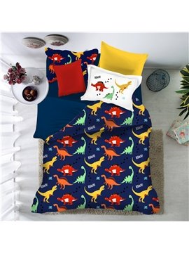 Colorful Dinosaur Polyester 4-Pieces Hand Wash Cartoon Bedding Sets For Kids Boy Ultra-soft Microfiber No-fading