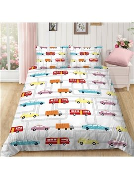 Colorful  Buses Cars Polyester 3-Pieces Hand Wash Cartoon Bedding Sets For Kids Boy Ultra-soft Microfiber No-fading