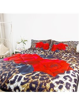 Three-Piece Comforter Set  Rose And Leopard Print Reactive Printing Polyester Bedding Sets Ultra-soft No-fading Twin Full Queen King