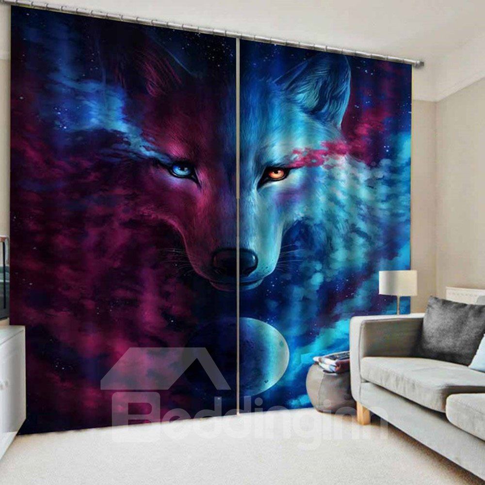 3d Blackout And Decoration Window Curtains With Blue And Red Wolf Face Custom 2 Panels Drapes No Pilling No Fading No Off-lining