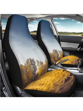 2 Pieces Wearproof Dirt-proof Easy to Clean Front Single Car Seat Covers Plant Landscape Summer Cooling Four Seasons Car Seat Covers for Front Two Seats Comes with 2 Pieces - Honeycomb Cloth