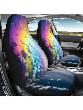 2 Pieces Wearproof Dirt-proof Easy to Clean Front Single Car Seat Covers Galaxy Summer Cooling Four Seasons Car Seat Covers for Front Two Seats Comes with 2 Pieces - Honeycomb Cloth