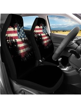 2 Pieces Wearproof Dirt-proof Easy to Clean Front Single Car Seat Covers National Flag Summer Cooling Four Seasons Car Seat Covers for Front Two Seats Comes with 2 Pieces - Honeycomb Cloth