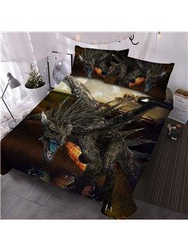 Dinosaur Comforter Set Three-Piece Set Reactive Printing Hand Wash Polyester Bedding Sets