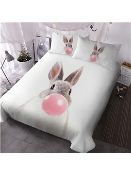 Rabbit Bubbling Three-Piece Set Reactive Printing Hand Wash Comforter Set Polyester Bedding Sets