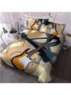 Cartoon Guitar Three-Piece Set Comforter Set Reactive Printing Hand Wash Polyester Bedding Sets
