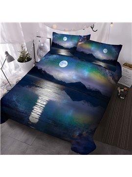 Moonlight Hand Wash Reactive Printing Comforter Set Three-Piece Set Skin-friendly Polyester Bedding Sets