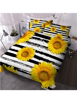 Sunflower Three-Piece Set Comforter Set Colorfast Wear-resistant Hand Wash Reactive Printing Polyester Bedding Sets