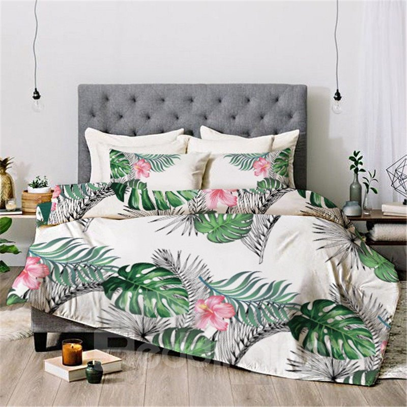 Leaves And Flowers Floral Reactive Printing Duvet Cover Set