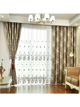 Pastoral Floral Embroidery Sheer Curtains for Living Room Custom 2 Panels Breathable Drapes No Pilling No Fading No off-lining