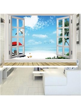 3D Beach Scenery and Blue Sky Printed Decoration Heat Insulation Waterproof Blackout Roller Shades
