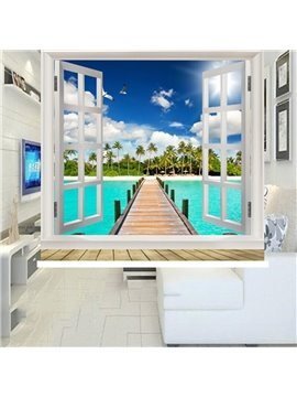 3D Wooden Bridge and Seaside Scenery Printed Decoration Heat Insulation Waterproof Blackout Roller Shades