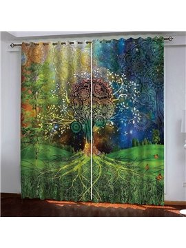 3D Bohemian Style Trees Printed Decoration Blackout Curtain Drapes No Pilling No Fading No off-lining