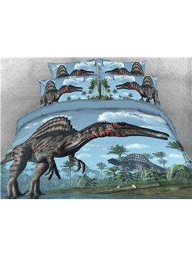 Dinosaur Animal Four-Piece Set Duvet Cover Set Polyester Bedding Sets 2 Pillowcases