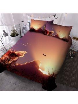 Warm Light Comforter Set Three-Piece Set Reactive 2 Pillowcases Comforter Printing Polyester Bedding Sets