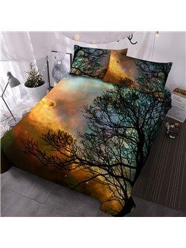 Tree Three-Piece Set Reactive Printing Comforter Set Polyester Bedding Sets 2 Pillowcases Comforter