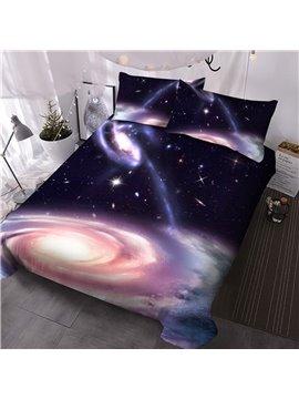 Galaxy Three-Piece Set 2 Pillowcases Comforter Reactive Printing Comforter Set Polyester Bedding Sets