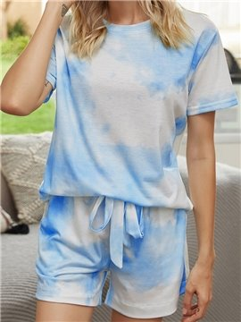 Fashion Lace-Up Blue Gradient Round Neck Short Sleeve Women's Pajama Suit