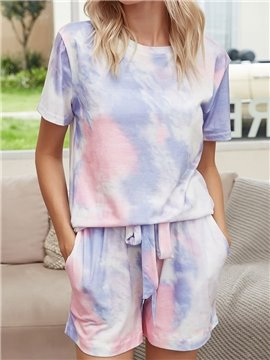 Casual Purple Gradient Pocket Lace-Up Round Neck Short Sleeve Women's Pajama Suit