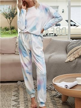 Fashion Pocket Light Purple Gradient Round Neck Long Sleeve Women's Pajama Suit