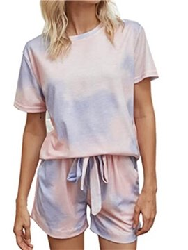Casual Pink Gradient Lace-Up Round Neck Short Sleeve Women's Pajama Suit for Spring Summer