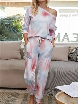 Fashion Pink Gradient Lace-Up Pocket Long Sleeve Women's Pajama Suit