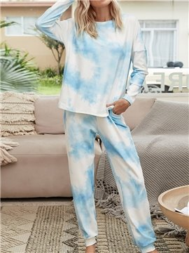 Casual Lace-Up Blue Gradient Long Sleeve Women's Pajama Suit